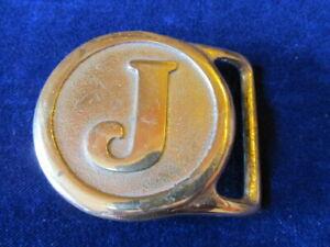 Belt-Buckle-With-Initial-J-Solid-Brass-Valleau-Studio-Saugatuck-Mi-Vintage-J5