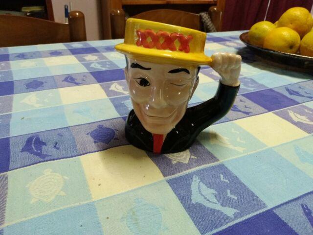 Retro WINKING MR FOUREX Beer Mug CASTLEMAINE XXXX Ceramic Stein BAR Mancave VGC