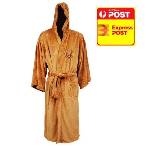 Star Wars Jedi Knight Bathrobe Coral Fleece Bath Robe with Embroidered Logo New