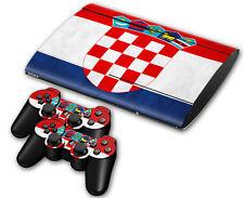 PS3 PlayStation 3 Super Slim Skin Design Aufkleber Schutzfolie Set - Croatia