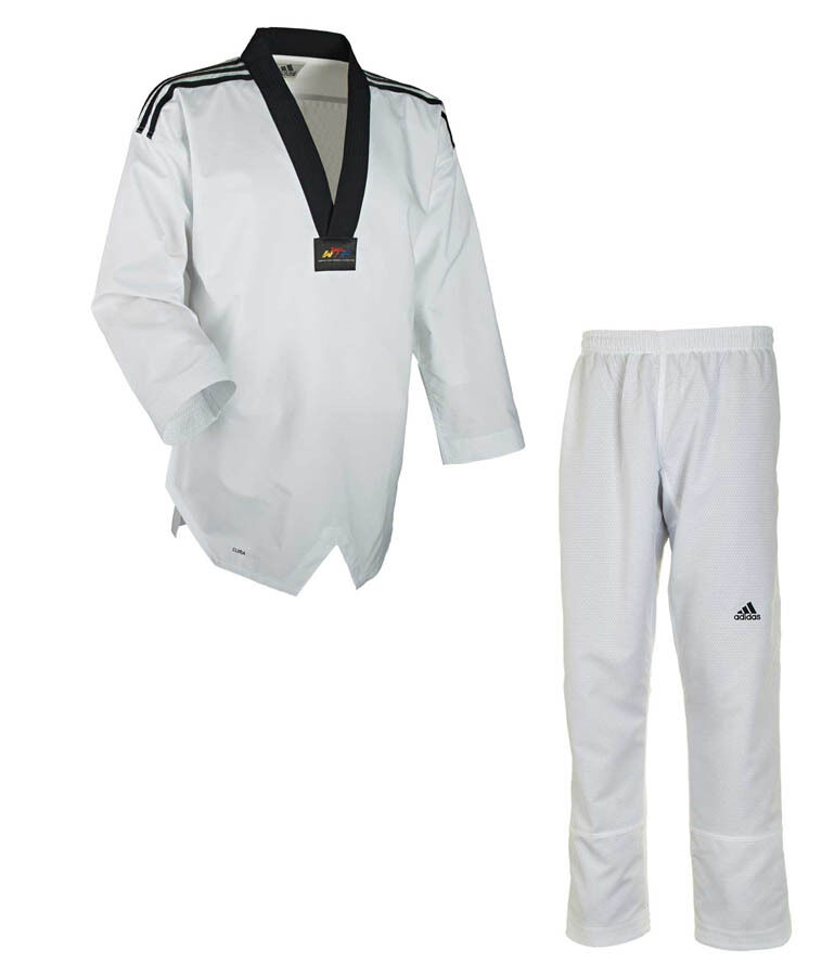Adidas Taekwondo Suit  FIGHTER  with Stripes. Größe 160-220. Clima-Cool Tech.