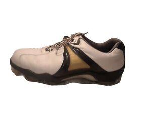 Vintage-Mens-Golf-shoes-Footjoy-Golf-Aquaflex-Leather-11-Wide-Wh-Gold-53516