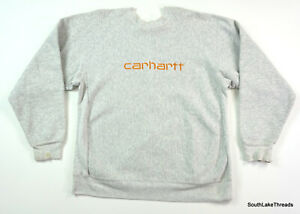 VTG 80s Carhartt Sweatshirt Spell Out Sweater Sewn Heavy Outdoor Grey Sz Large