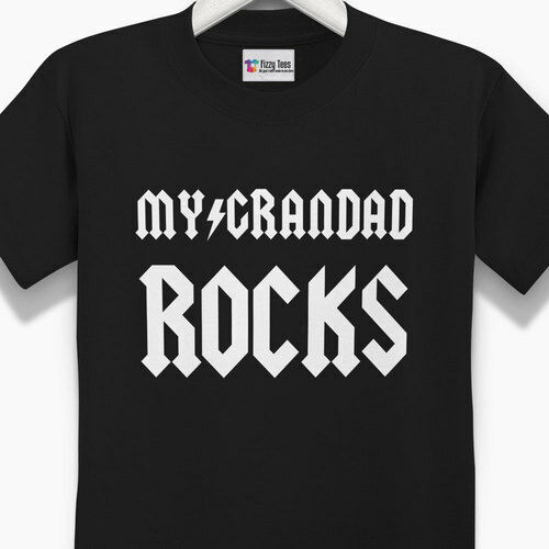 kids grandad t-shirt Kid/'s My Grandad Rocks T-Shirt Brand New