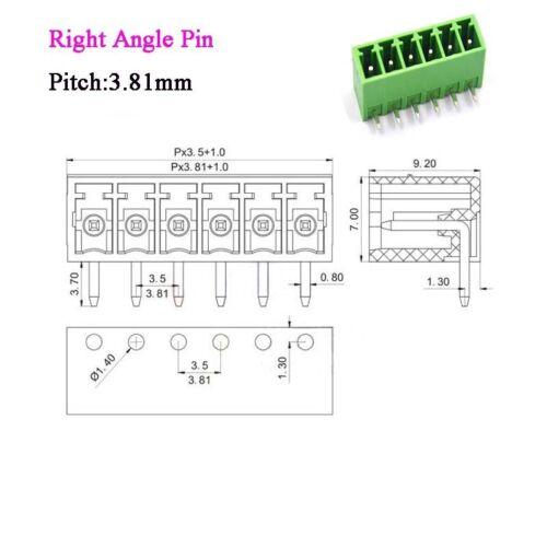 Right Angle 12Pin 3.81mm KF2EDG PCB Terminal Block Screw Connectors Male/&Female