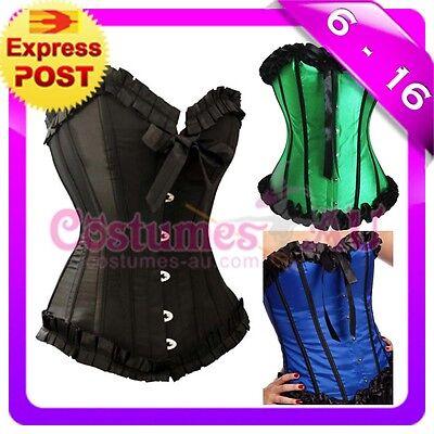 New Burlesque Satin Corset Lace up Bustier g string tutu skirt