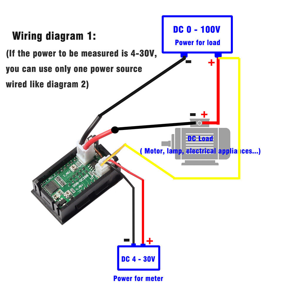 dc ammeter wiring diagram dc 100v 10a voltmeter ammeter blue& red led dual digital ... #9