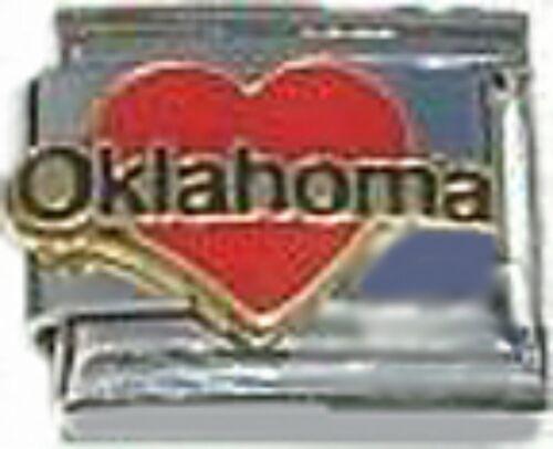 Italian Charm émail Love Coeur Oklahoma OK État Américain