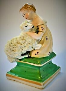 Antique-English-Staffordshire-Girl-with-Ram-Victorian-Figure-Figurine-c-1840-50