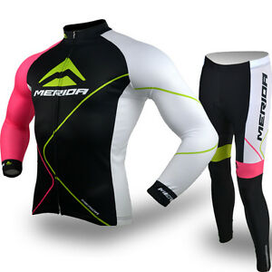 Men/'s Merida Cycling Clothing Long Sleeve Bike Jersey and Padded Cycle Pants Kit
