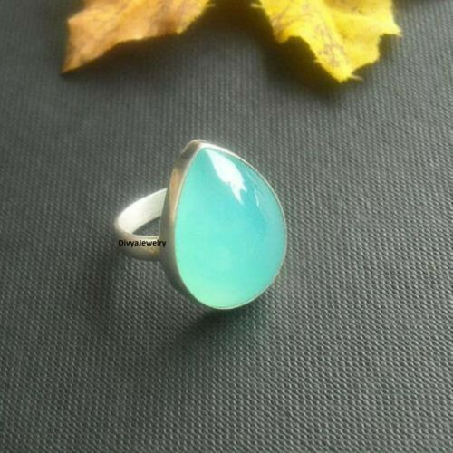 Chalcedony Ring Solid 925 Sterling Silver Ring Band Meditation Ring All Size 05