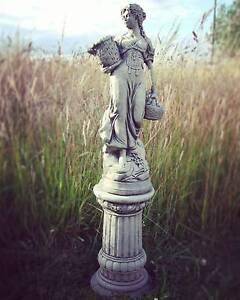 Large Stone Garden Ornaments Large basket lady on column hand cast stone garden ornament statue image is loading large basket lady on column hand cast stone workwithnaturefo
