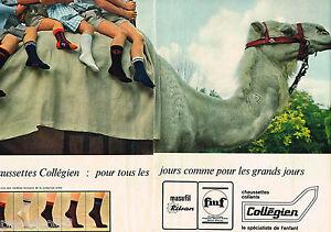 PUBLICITE-ADVERTISING-055-1966-COLLEGIEN-chaussettes-enfants-2-pages