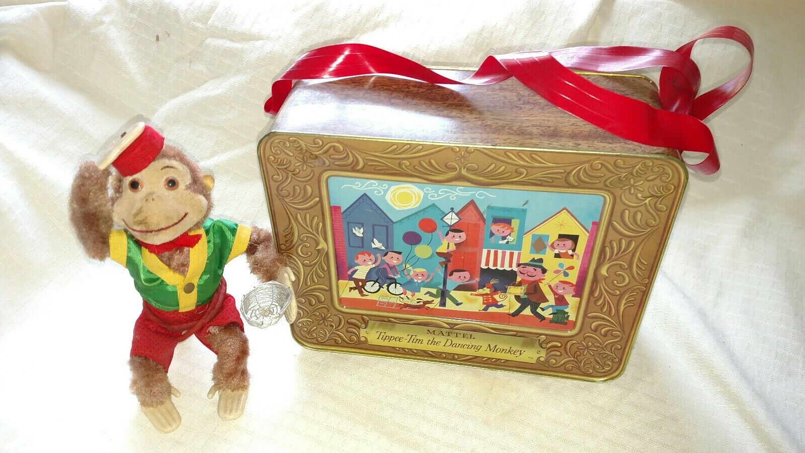 Vintage 1958 MATTEL Tippee Tim Metal Organ Grinder Music Box & Dancing Monkey