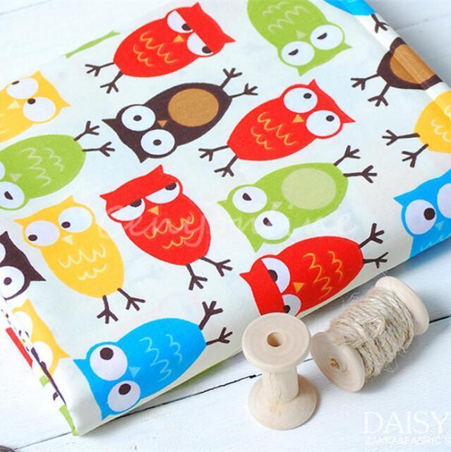 52x160cm Cotton Owl Fabric Kids Patchwork Craft Twill Handmade Curtain Quilting