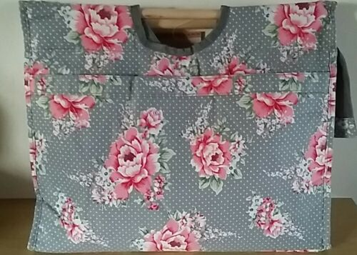 BNWT-Vintage Rose and Polka Dot Design Fabric-Craft//Knitting Bag by Hobby Gift