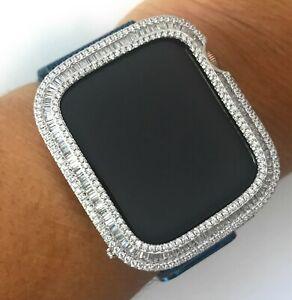 Bling-Apple-Reloj-Serie-4-S4-Bisel-Funda-Baguette-Cubica-Diamante-Plateado-40mm