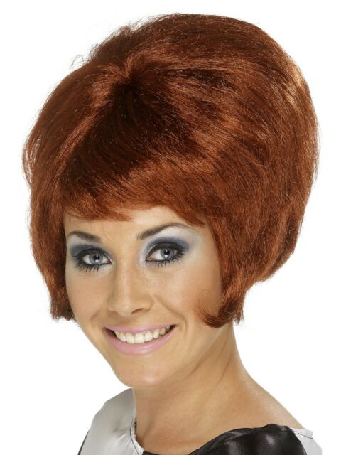 Auburn Beehive 60s Wig Ladies Fancy Dress 1960s Hair Adults Costume Accessory