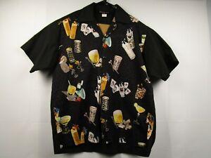 Mens-Johnny-Suede-Large-Black-Short-Sleeve-Button-Front-Hawaiian-Camp-Shirt-EUC
