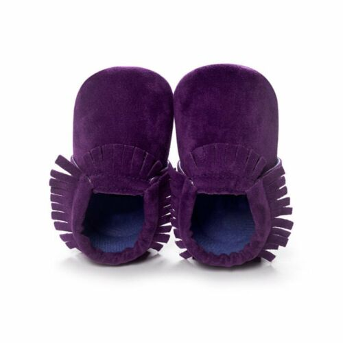 US Toddler Infant Baby Boy Girl Moccasin Leather Shoes Kids Soft Sole Crib Shoes