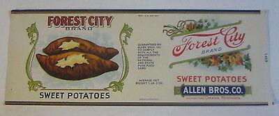 Forest City Can Label Original Old Vintage Omaha Nebraska Demand Exceeding Supply Sweet Potatoes