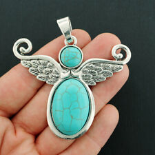 Dragonfly Pendant Charm Antique Silver Tone with Faux Turquoise Stone SC6520