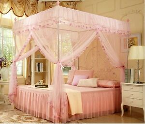 4 corners high qc post bed canopy mosquito net size twin xl full queen cal king ebay. Black Bedroom Furniture Sets. Home Design Ideas
