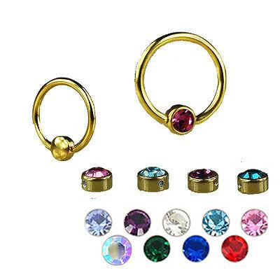 Gold Piercing Ring mit Flatback Kristall Kugel Ohr Lippenbändchen Augenbraue