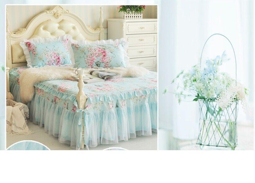 D277 Double Größe Lace All Cotton Bettding Bett Rock+Pillow Case 3 PCS Set O