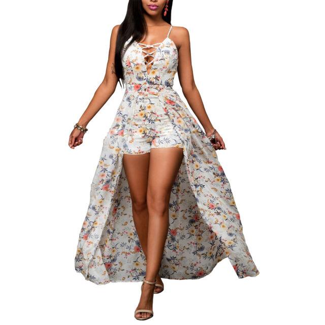 Womens Ladies Summer Beach Boho Hippie Chiffon Dress Jumpsuit Maxi Playsuit Sexy