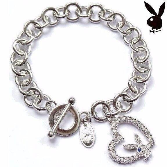 Playboy Charm Bracelet Silver Platinum Crystal Bunny Heart CZ Gem Toggle Clasp
