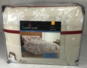 Cuddl-Duds-Heavyweight-Flannel-Full-Sheet-Set-Snowman-Warm-Layers-100-Cotton