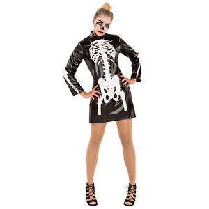 Caricamento dell immagine in corso Costume-scheletro-abito-carnevale- halloween-horror-donna-signora- 7b72963245ac
