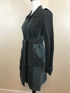 NEW-J-CREW-WOMENS-COTTON-BELTED-TRENCH-COAT-DARK-GREEN-SZ-6