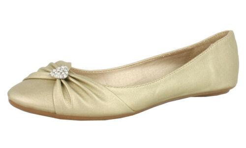 S382 Ladies Flat Diamante Ballerinas Slip On Ballet Casual Shoes UK 3-6