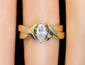 NICE-Petite-Women-039-s-14K-Gold-45-Ct-Thick-Marquise-Diamond-Solitaire-Size-4