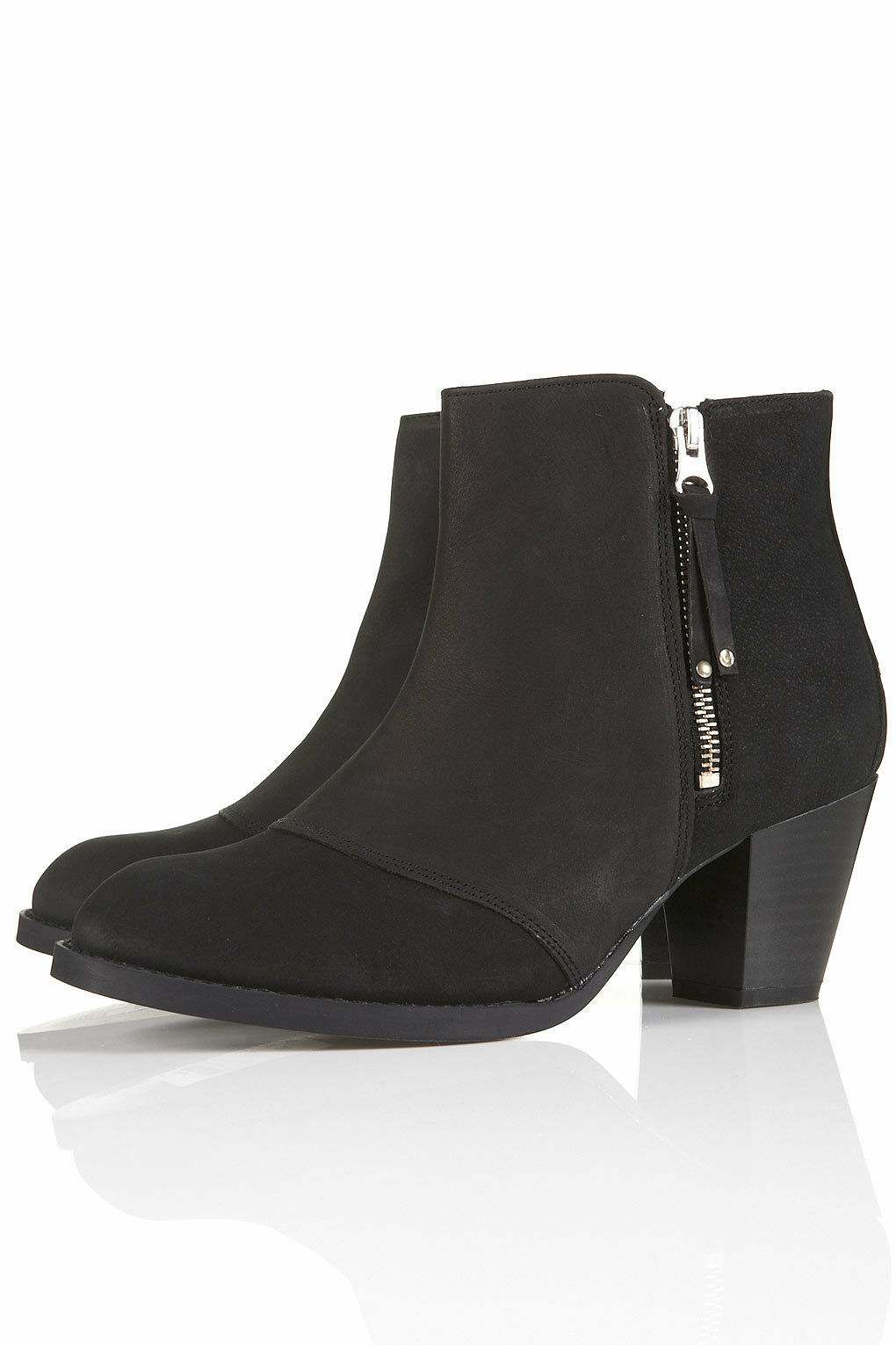 New TOPSHOP AMBUSH leather zip ankle boots UK 8 in Black