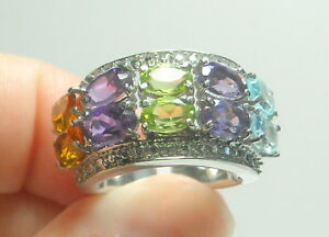 5-00-ct-Natural-Peridot-Amethyst-Blue-Topaz-amp-Citrine-Ring-Stainless-Steel
