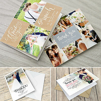 Responsabile Personalizzato Matrimonio Piegata Grazie Schede Con Foto + Buste #054- Diversificato Nell'Imballaggio