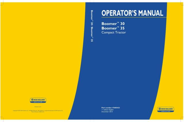 Holland Boomer 30 Boomer 35 Compact Tractor Operators Manual on