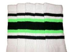 "22"" KNEE HIGH WHITE tube socks with RED//BLACK stripes style 3 22-62"