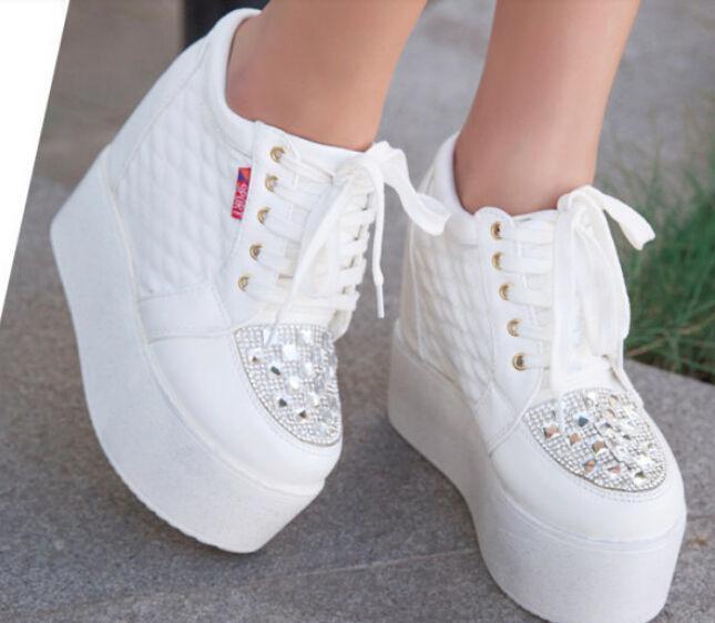 Womens Lace Up Platform Creeper Rhinestones Hidden Wedge Heel New Sneakers shoes