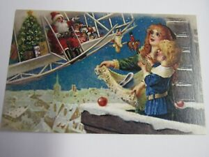 New Reproduction 1910 Santa In Airplane Christmas Postcard
