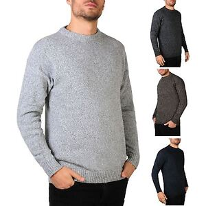 Mens-Soft-Knitted-Round-Crew-Neck-Warm-Jumper-Sweater-Grandad-Pullover-Top