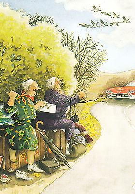 5 Nr Postkarte// Postcard Inge Löök Frauen fahren Schlitten