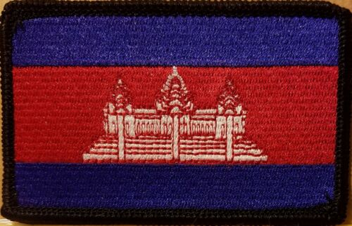 CAMBODIA Flag Embroidered Iron-On Patch Tactical Military Emblem Black Border