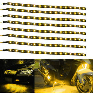 Lot8-Yellow-15-LED-30CM-Car-Grill-Flexible-Waterproof-Light-Strip-SMD-12V-Sales