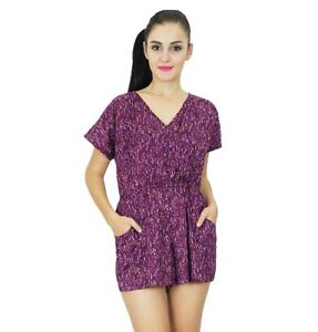 detailing new styles uk store Bimba Womens Casual Short Playsuit Dress Indian Printed Purple ...