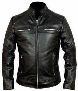 da Cafe pelle Giacca Racer nera Moto da motociclista uomo in WH8qB