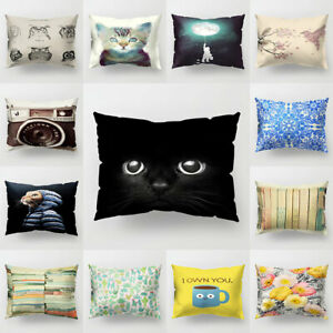 Am-KQ-Cat-Flower-Bird-Sky-Leaf-Camera-Cushion-Cover-Pillow-Case-Home-Chair-Sof